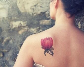 Pink Peony medium temporary tattoo / floral illustration temporary tattoo / vintage flowers temporary tattoo / botanical shoulder tattoo