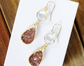 Druzy and Crystal Earrings, Quartz Druzy,  Gold Teardrop Earrings, Clear Natural Crystal Diamond Connector, Electroplated, Mocha, Brown, Tan