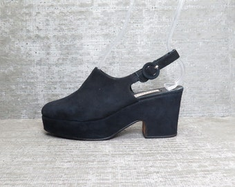 Vtg 90s Black Nubuck Leather Chunky Minimal Clogs Shoes 7