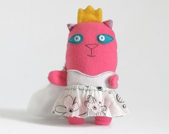 Princess Stuffed Cat Plush Toy, Removable Skirt, Kitten Softie, Princess Doll Girl gift, Stuffed Cat, Pink Plush Toy, Baby Shower gift