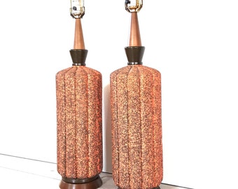 Mid Century Lamps ~ Large Retro Coral / Gold Speckled 1965 Pieri Lamps ~ Vintage Lighting