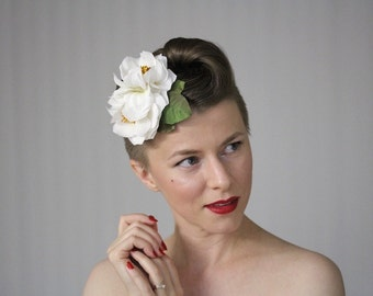 """White Rose Headpiece, Vintage Fascinator, Bridal Flower Clip, Wedding Hair Accessory, White Floral Clip Camellia 1950s - """"Daydream's Kiss"""""""