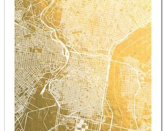 Philadelphia Map, Philadelphia Gold Foil Map™, Print, Gold Foil Print, Philadelphia Wall Art, Gift for Traveler, Gold Pressed Art, Map
