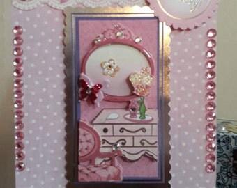 girls pink birthday card-pink greetings card for birthday girl-decopage dressing table girls/ladies birthday card
