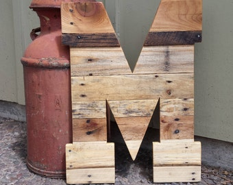 giant wooden letter huge wooden letter pallet letter 24 tall wood letters rustic wedding nursery rustic home decor reclaimed wood
