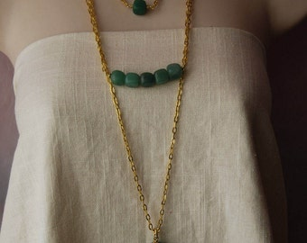 Aventurine Set of 3 Chain Statement Necklaces Green Necklace