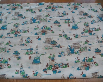 Vintage Cotton Fabric Material Kitchen CRABAPPLE JELLY RECIPE Blue/Green/Tan 2+