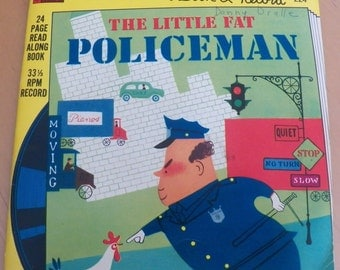 Vintage 1976 The LITTLE FAT POLICEMAN Book/Record #224~~ 33 1/3 Rpm~Golden Book