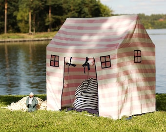Play house, playhouse, indoor play house, play tent, outdoor playhouse, pink stripes