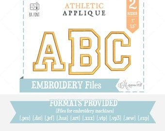 "3"" & 3.5"" Athletic Applique  Embroidery Font/Alphabet for Embroidery Machines, College Applique, Varsity  Athletic Applique, BX font"