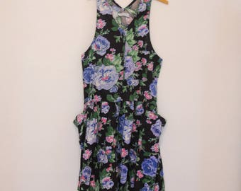 Black Floral Print Dress - Early 90s