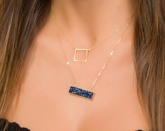 Gold Square Necklace • Minimalist Necklace • Geometric Necklace • Dainty Necklace • Bridesmaid Gift • Gold Filled Necklace | 0259NM