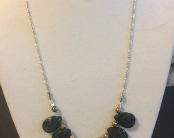 Dark Blue Teardrop Necklace