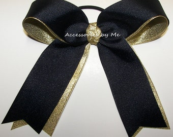 Cheer Bow, Navy Blue Gold Metallic Ribbon Streamers, School Ponytail Pigtail, Football Cheerleader, Softball Volleyball Team Bulk Price Bows