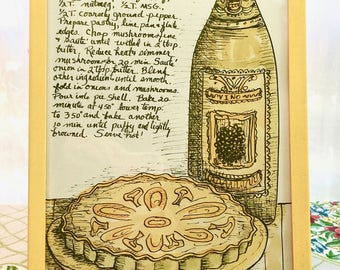 Vintage Art Kitchen Dining Room 1970s. Mushroom Quiche Recipe and Hand-Drawn Graphics in Yellow Frame. Adorable!