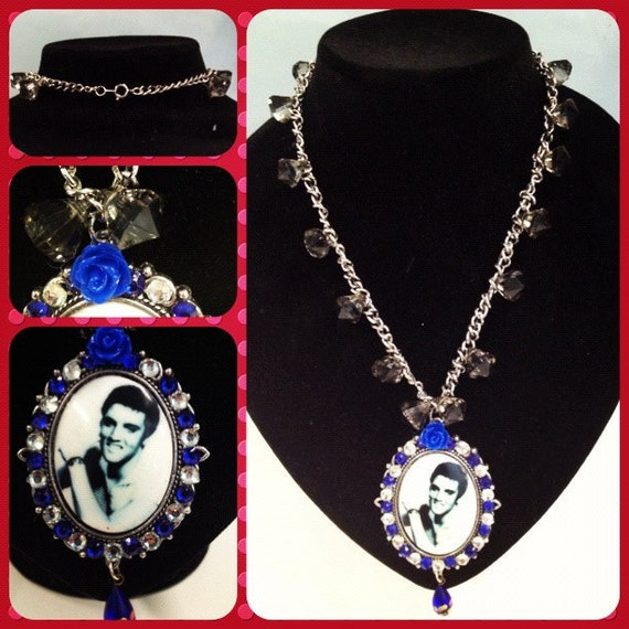 Elvis Moody Blue Necklace Rockabilly Pin Up