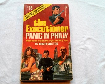 "Vintage 70's Action Adventure Paperback, ""The Executioner: Panic in Philly"" by Don Pendleton, 1973"