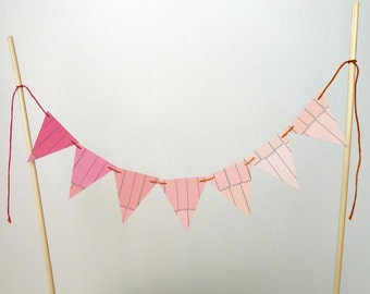 Pink Ombre Cake Topper Bunting Light Pink, Dark Pink and Peach