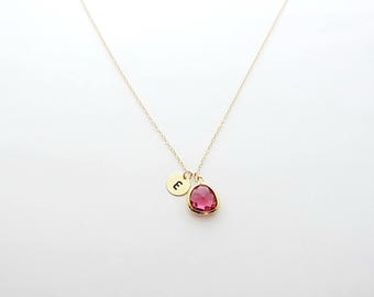 Ruby Gold Initial Coin Necklace, July Birthstone Necklace, Dainty Necklace, Personalized Necklace, Bridesmaid Necklace