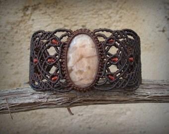 Peach Aventurine macrame healing stone bracelet