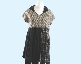 Sale Black Brown and Gray Upcycled Clothing Eco Fashion Boho Chic Plus Size Flannel Dress