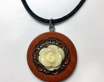Wood Pendant with Cream Colored Acrylic Rose on an Ornate Metal Backing Necklace - Flower