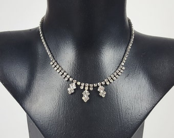 1950s Vintage Necklace Diamante with Three Square Drops