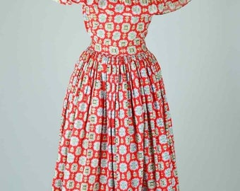 1940s Vintage Dress Red Cotton with Novelty Print and Frill Neckline