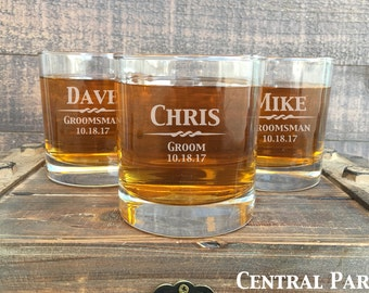1 Personalized Wedding Whiskey Glass,  Engraved Wedding Rocks Glasses, Best Man, Toasting Glasses, Groomsmen Glasses, Custom Wedding Gift
