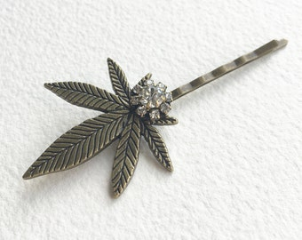 "Weed hairpin 3"", LARGE, Marijuana accessories, weed, stoner gift, bronze Marijuana Hairpin hairclip cannabis ganja"