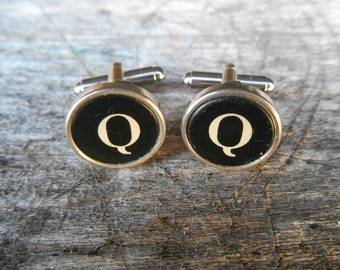 "Vintage Typewriter Key Cufflinks 'Q Q' The Letter Q Black and Silver 5/8"" (15mm) Steampunk, Writer, Literary, Wedding, Prom"