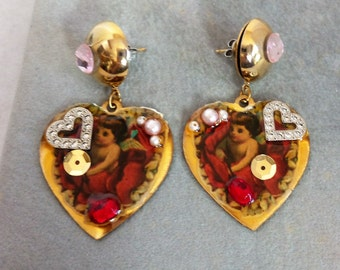 Vintage Valentine Heart Earrings