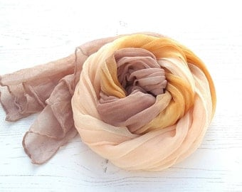 Silk scarf hand dyed neutral colors desert beige taupe nude apricot