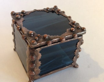 Blue, Stained Glass, Ring Box, with Handmade Metal Lace Edge / Antique Copper Finish / Trinket Box / Glass Jewelry Box / Antique Style Box /