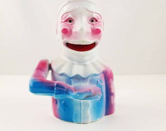Kitschy and Creepy Working Clown Bank - Plastic Reproduction of a Cast Iron Original - Advertising Bank - A Clown That Eats Money - Creepy!