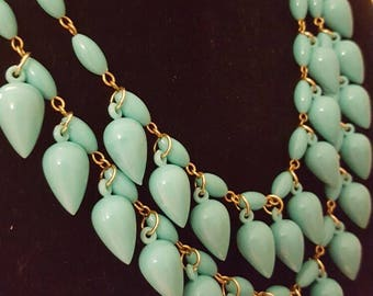 1960s Turquoise Double Strand Teardrop Necklace