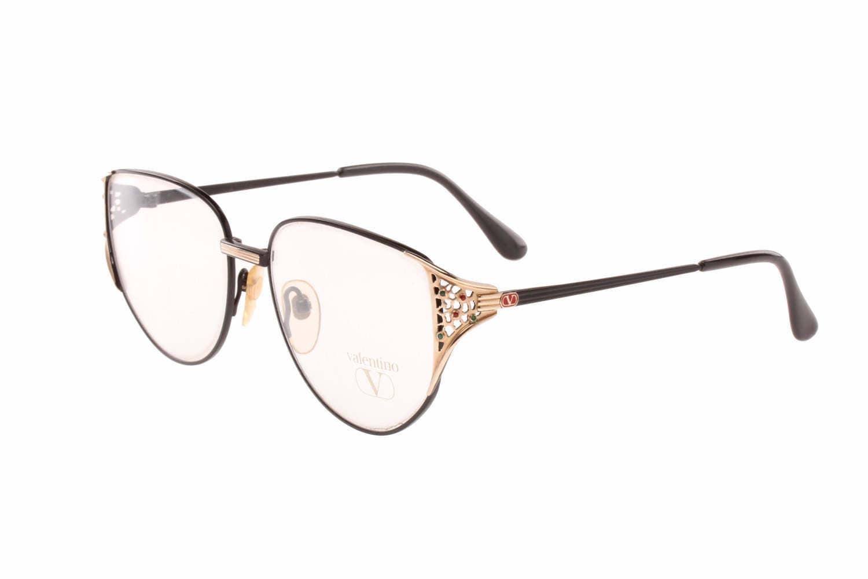 Valentino Garavani V 349 vintage black oversized cateye eyeglasses ...