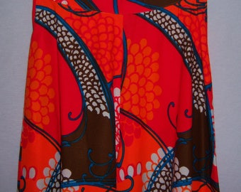 Vintage Alice of California Orange Blue Brown Hawaiian Hawaii Tropical Flower Mod Print Barkcloth Palazzo Pants Small 2 4 Bark Cloth Retro