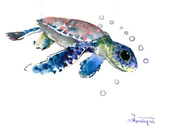 blue purple Sea Turtle Original Watercolor Artwork/ Underwater Scene Animal Illustration/ One of a Kind Beach Tortoise Guest Room Art