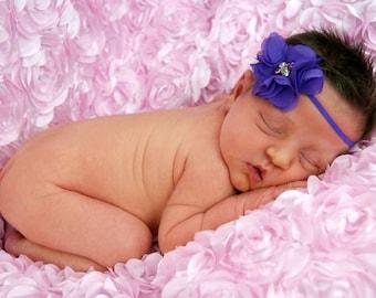 purple newborn infant petite flower headband newborn headband baby headband infant headband elastic headband photography