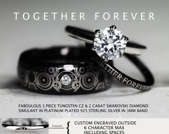 doctor who inspired wedding 3 piece 8mm tungsten cz swarovski 2 carat diamond simulant in - Doctor Who Wedding Ring