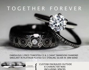 doctor who inspired wedding 3 piece 8mm tungsten cz swarovski 2 carat diamond simulant in - Dr Who Wedding Ring