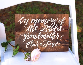 In Memory of Sign, Rustic Wedding Signs, Remembrance Sign, Reserved Seating Sign, Wooden Wedding Sign   11x8