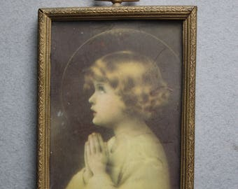 Vintage Framed Print of Praying Child