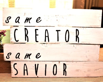 Wood Pallet Art - Same Creator Same Savior