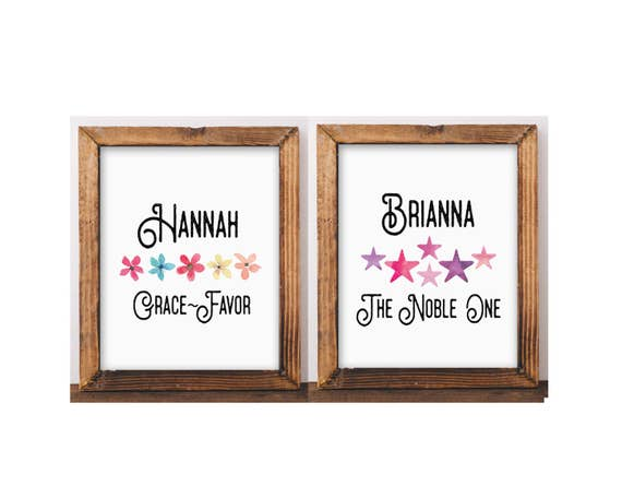 Name and Meaning Personalized Gift Kids