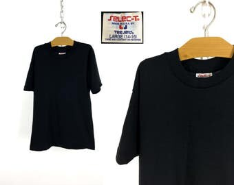 """Vintage 80s Kids' Blank Black """"Select-T"""" T-Shirt by Tee-Jays LARGE (14-16) // Childs // NOS // Deadstock // Never Worn // Soft & Comfy"""