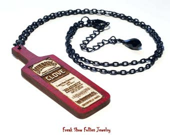 apothecary clove bottle wood burned pendant necklace