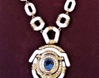 Jackie Kennedy GP Necklace - 24K with Faux Sapphire, Box and COA