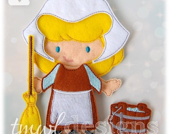 Peasant Dress Felt Paper Doll Toy Outfit Digital Design File - 5x7
